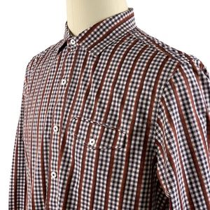 Tommy Bahama Shirt Long Sleeve Brown Check